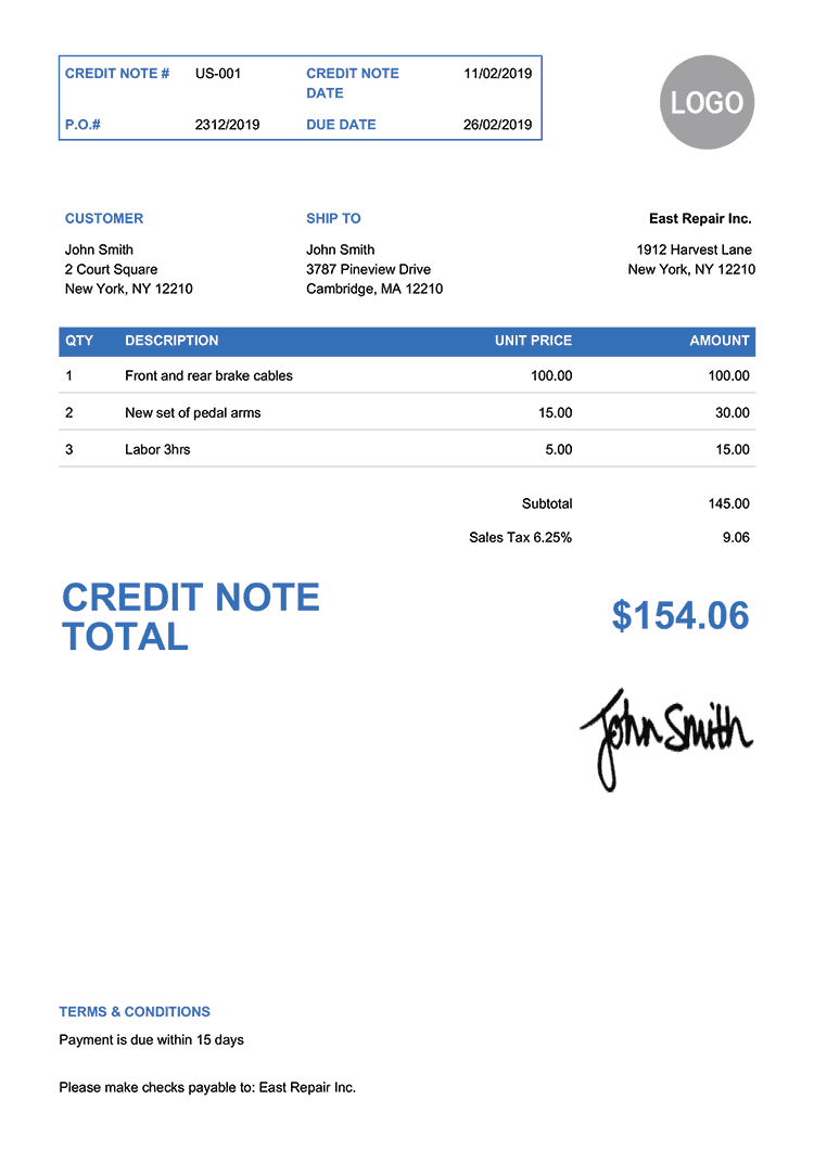 Credit Note Template Us Clean Blue