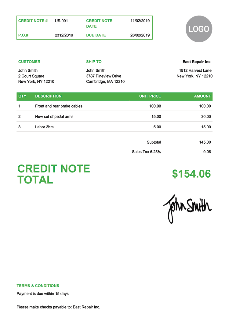 Credit Note Template Us Clean Green