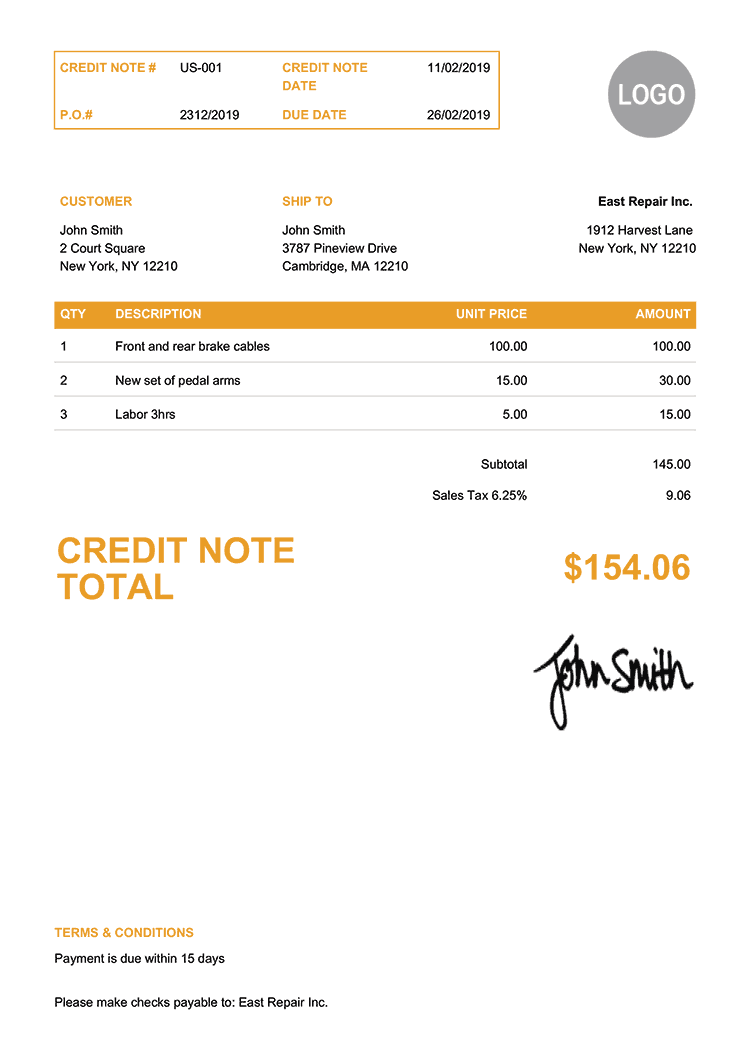 Credit Note Template Us Clean Yellow
