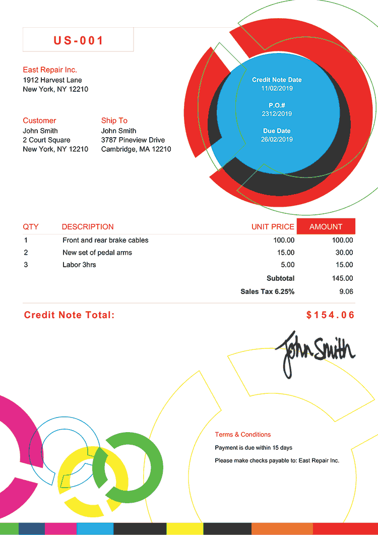 Credit Note Template Us Connect Multi