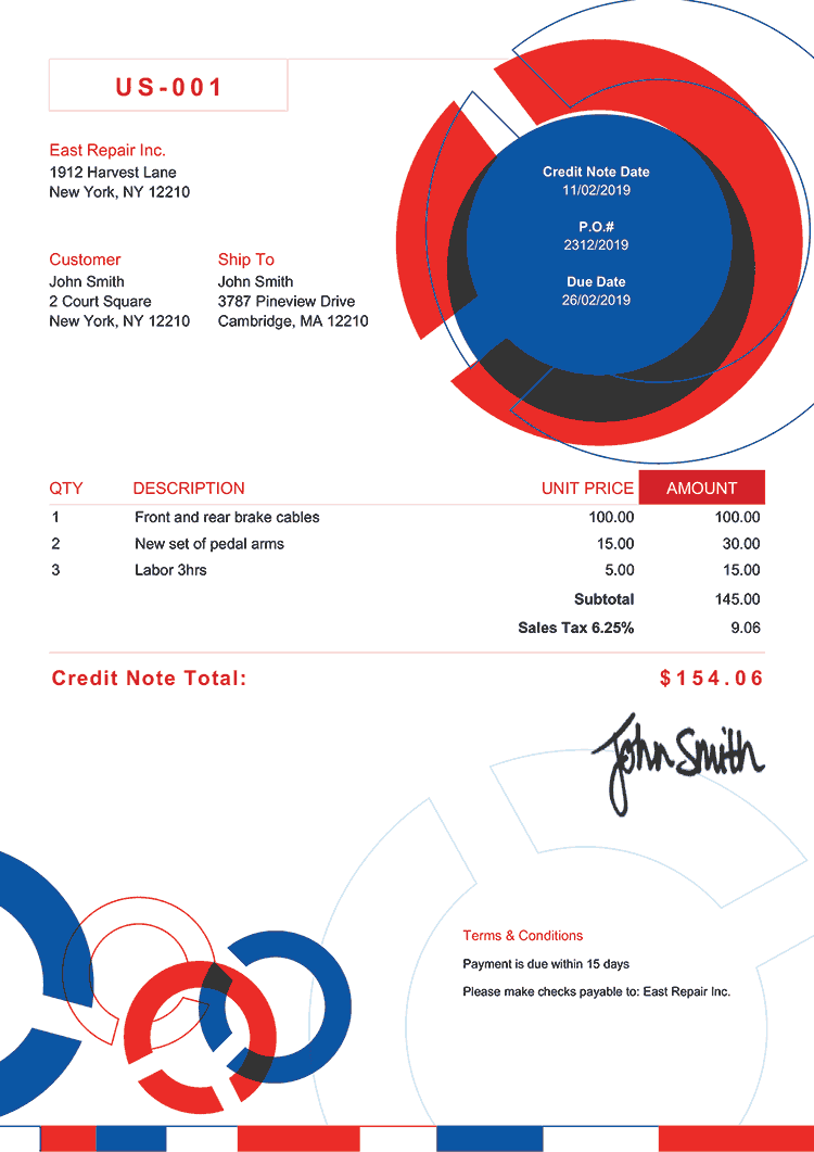 Credit Note Template Us Connect Rbw