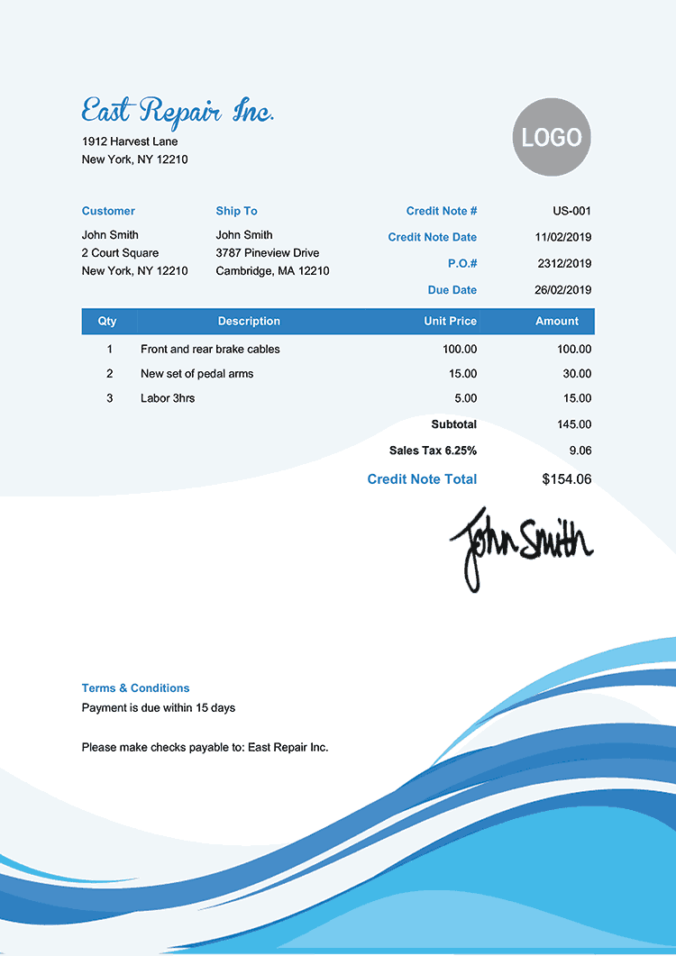 Credit Note Template Us Cool Waves