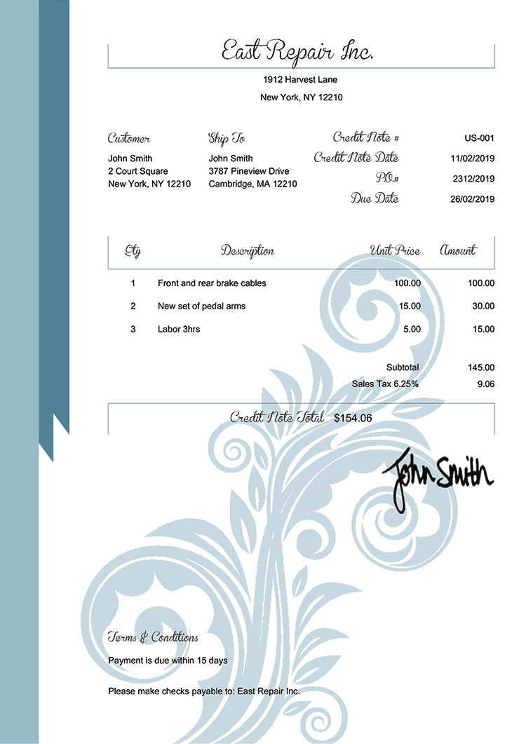 Credit Note Template Us Elegance Blue