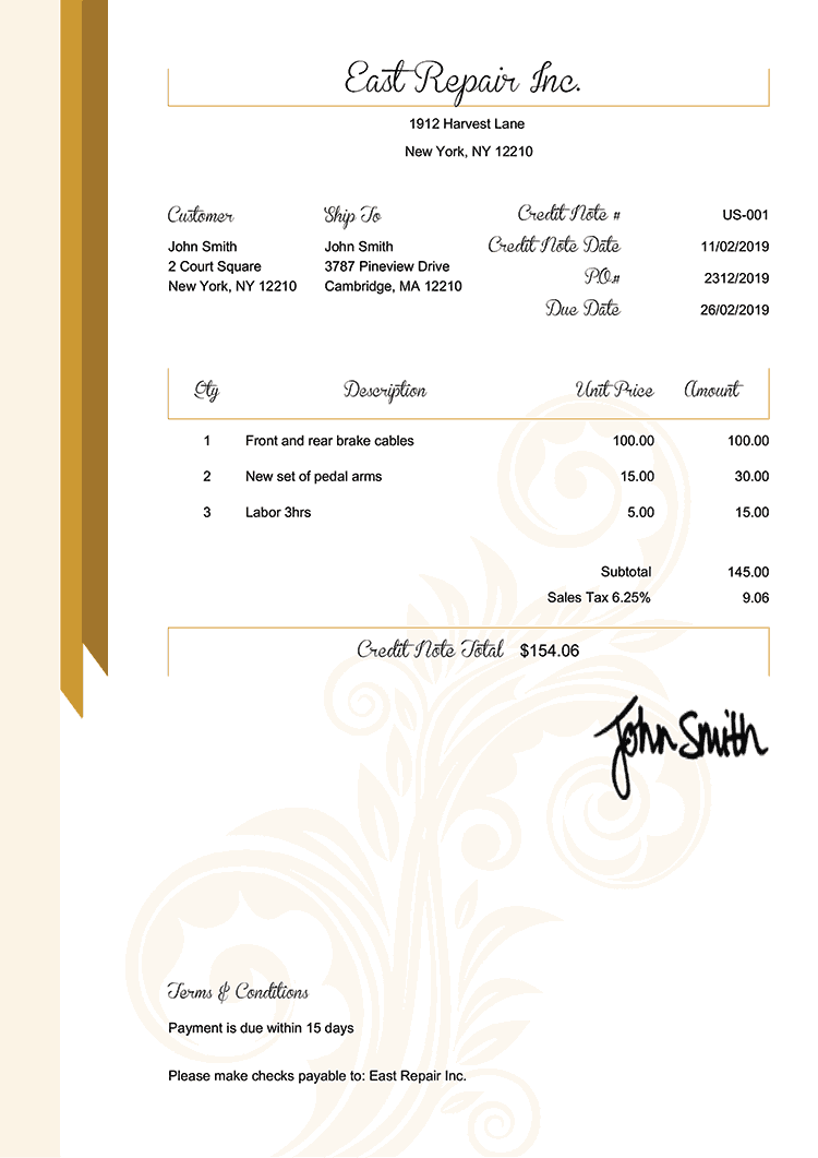 Credit Note Template Us Elegance Gold