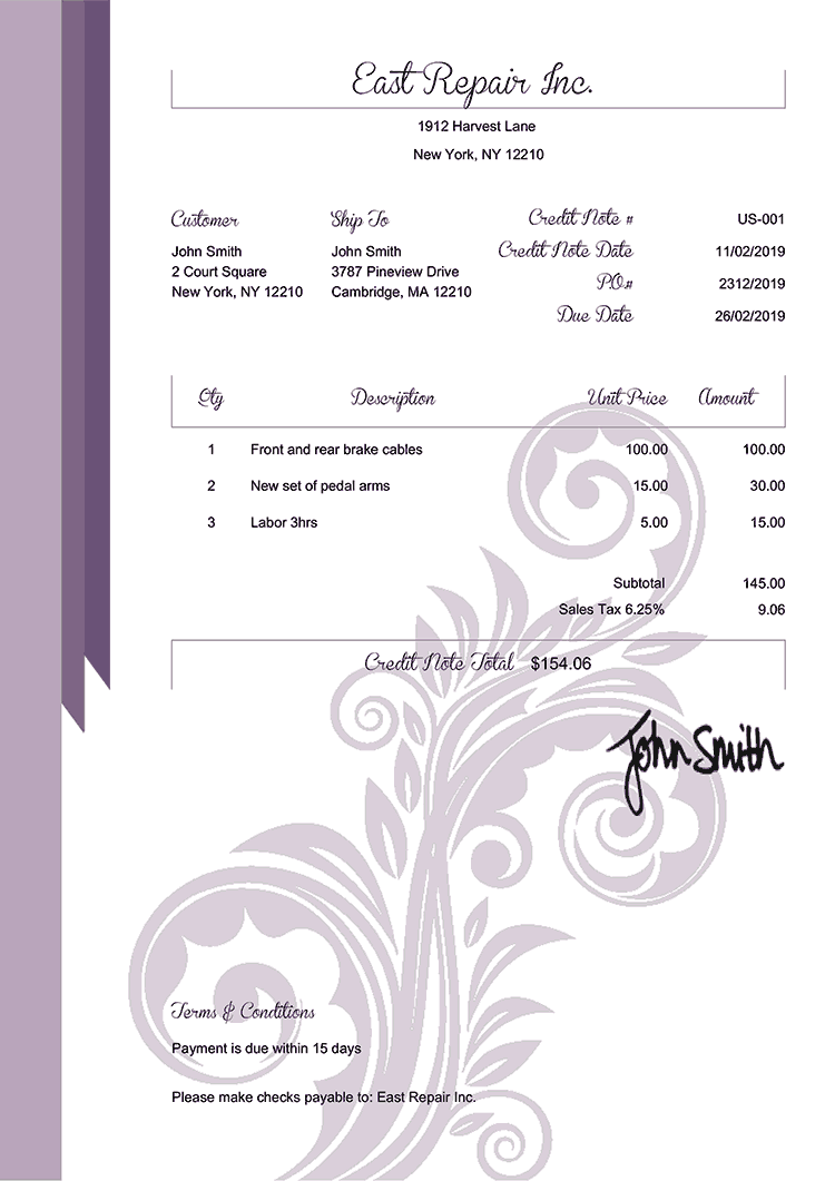 Credit Note Template Us Elegance Purple