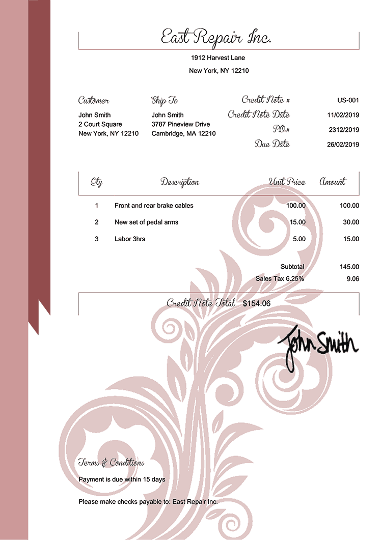 Credit Note Template Us Elegance Red