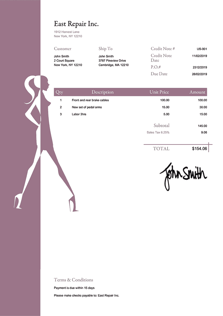 Credit Note Template Us Fashionista Plum