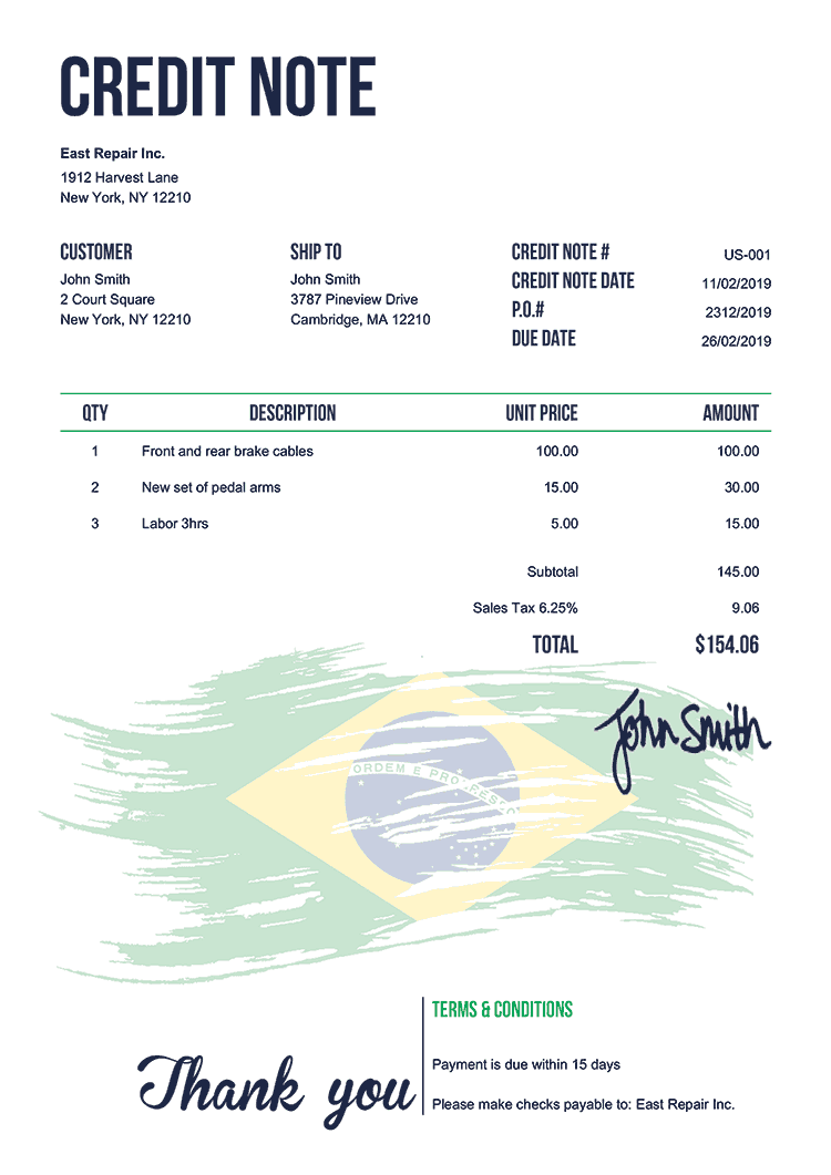 Credit Note Template Us Flag Of Brazil