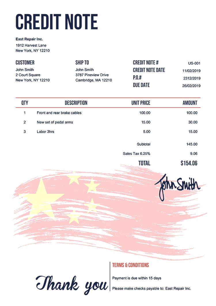 Credit Note Template Us Flag Of China