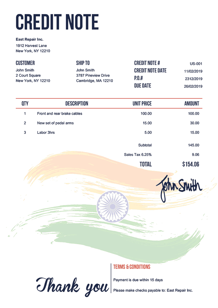 Credit Note Template Us Flag Of India