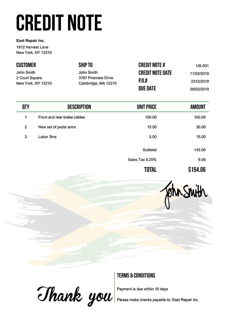 Credit Note Template Us Flag Of Jamaica