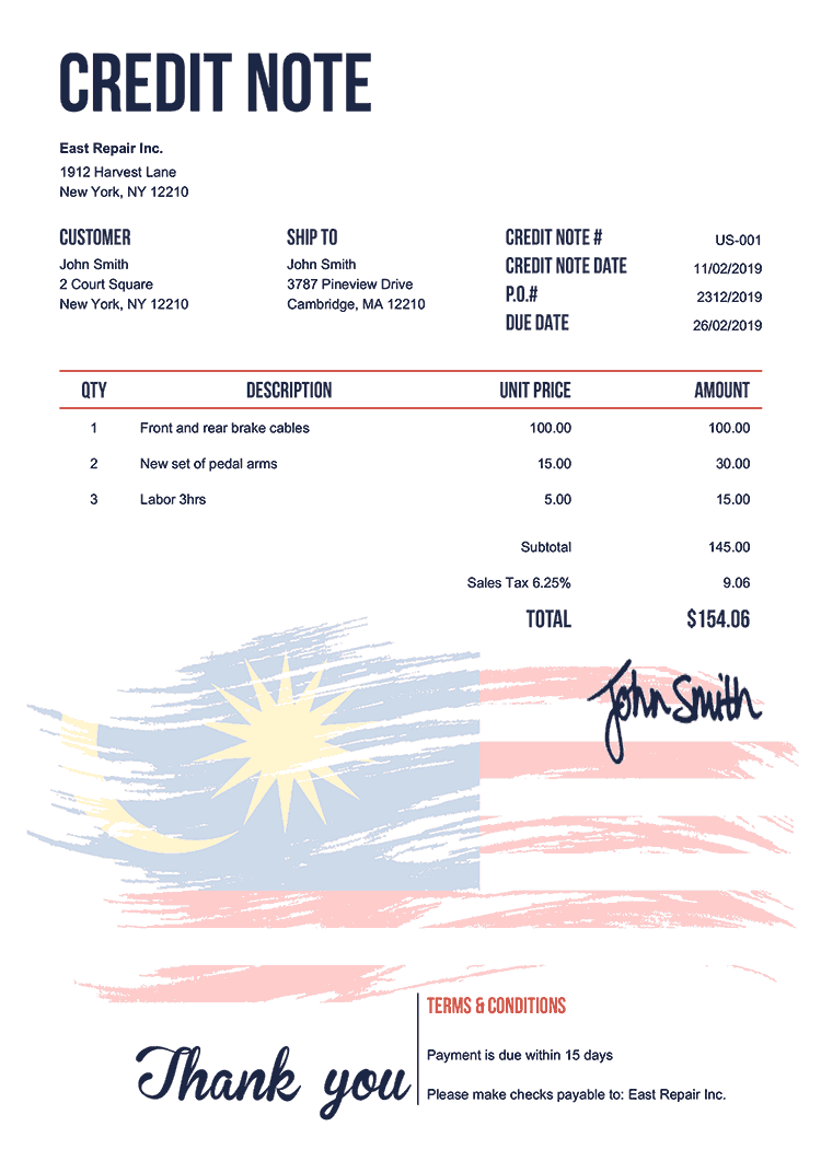 Credit Note Template Us Flag Of Malaysia