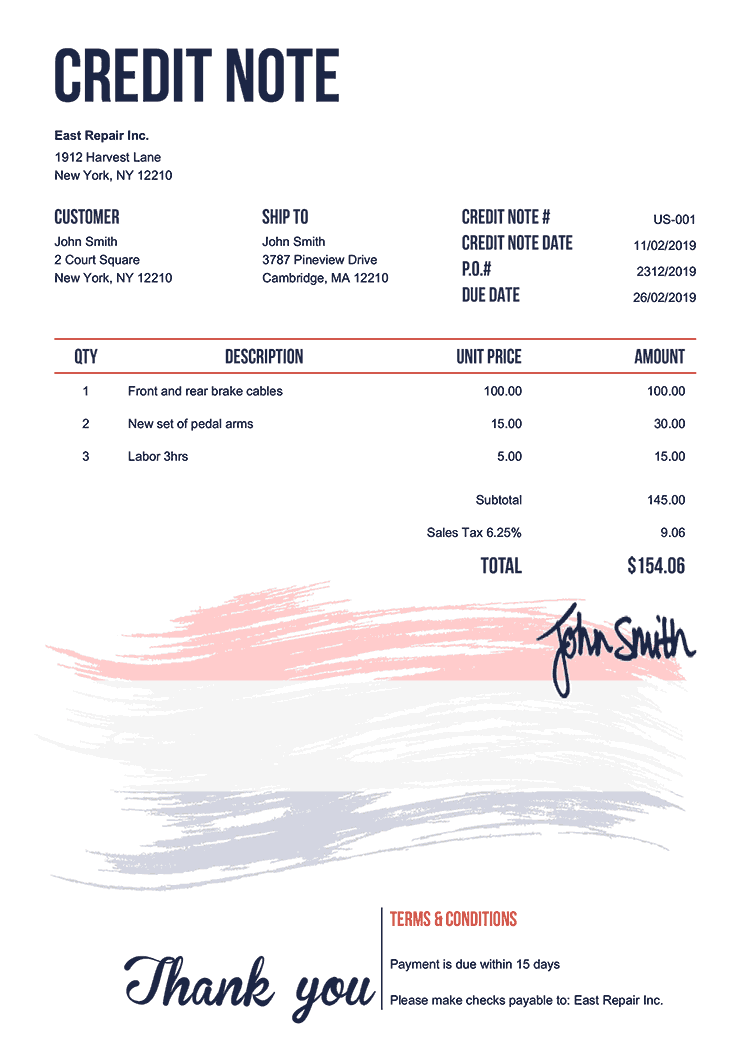 Credit Note Template Us Flag Of Netherlands