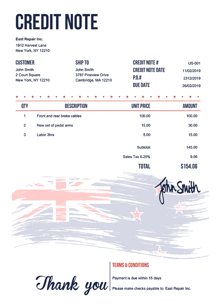 Credit Note Template Us Flag Of New Zealand