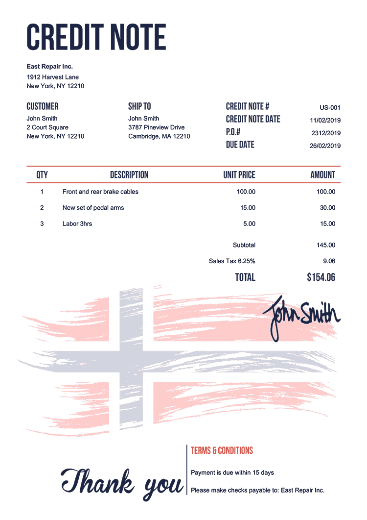Credit Note Template Us Flag Of Norway