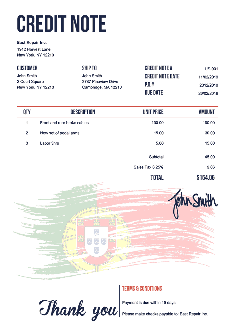 Credit Note Template Us Flag Of Portugal