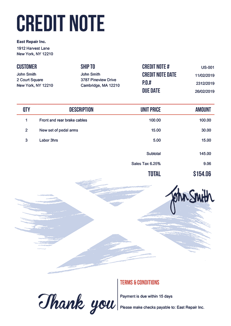 Credit Note Template Us Flag Of Scotland