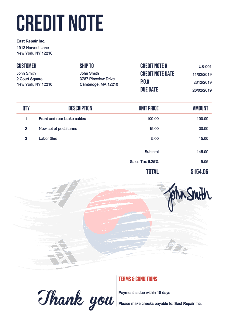 Credit Note Template Us Flag Of South Korea