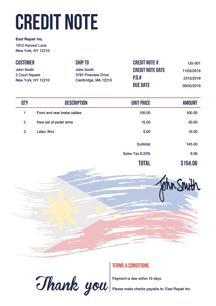 Credit Note Template Us Flag Of The Philippines