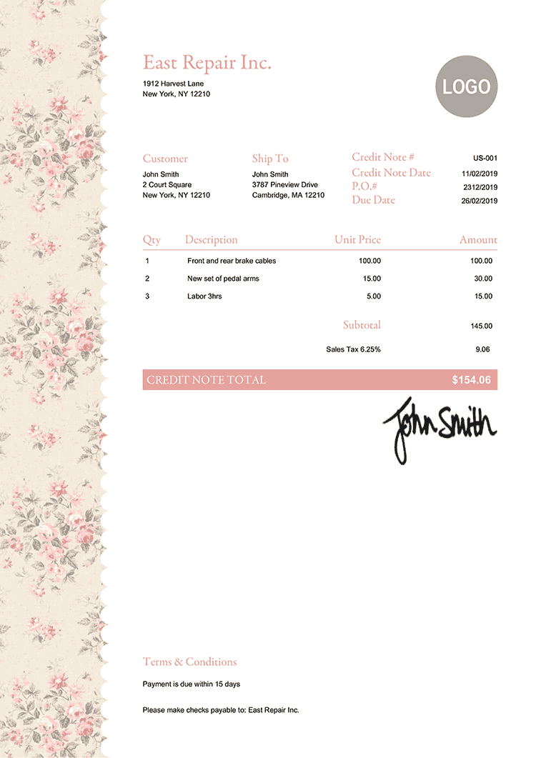 Credit Note Template Us Flowers