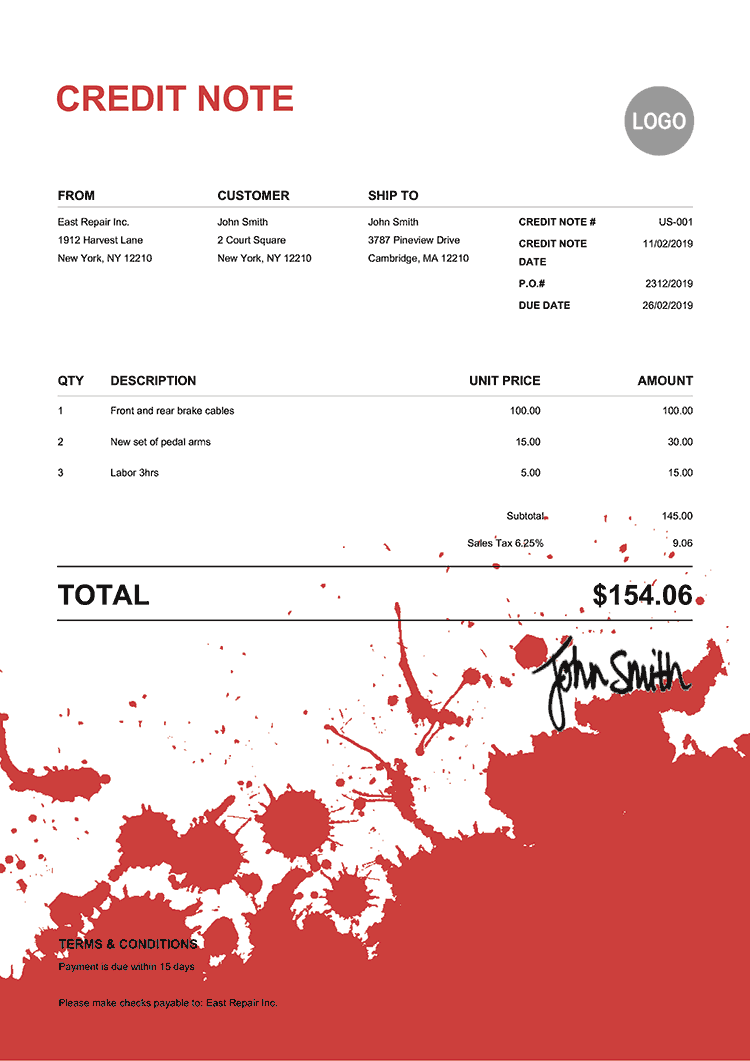 Credit Note Template Us Ink Blot Red