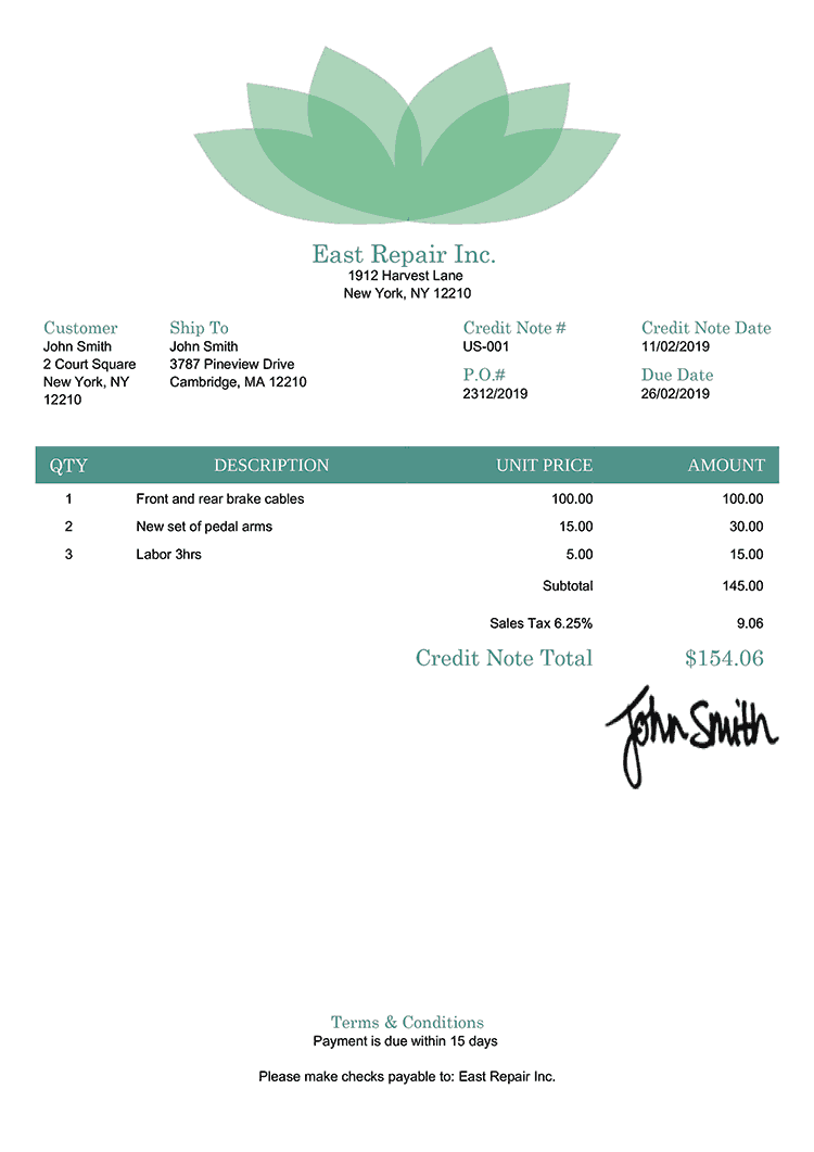 Credit Note Template Us Lotus Green
