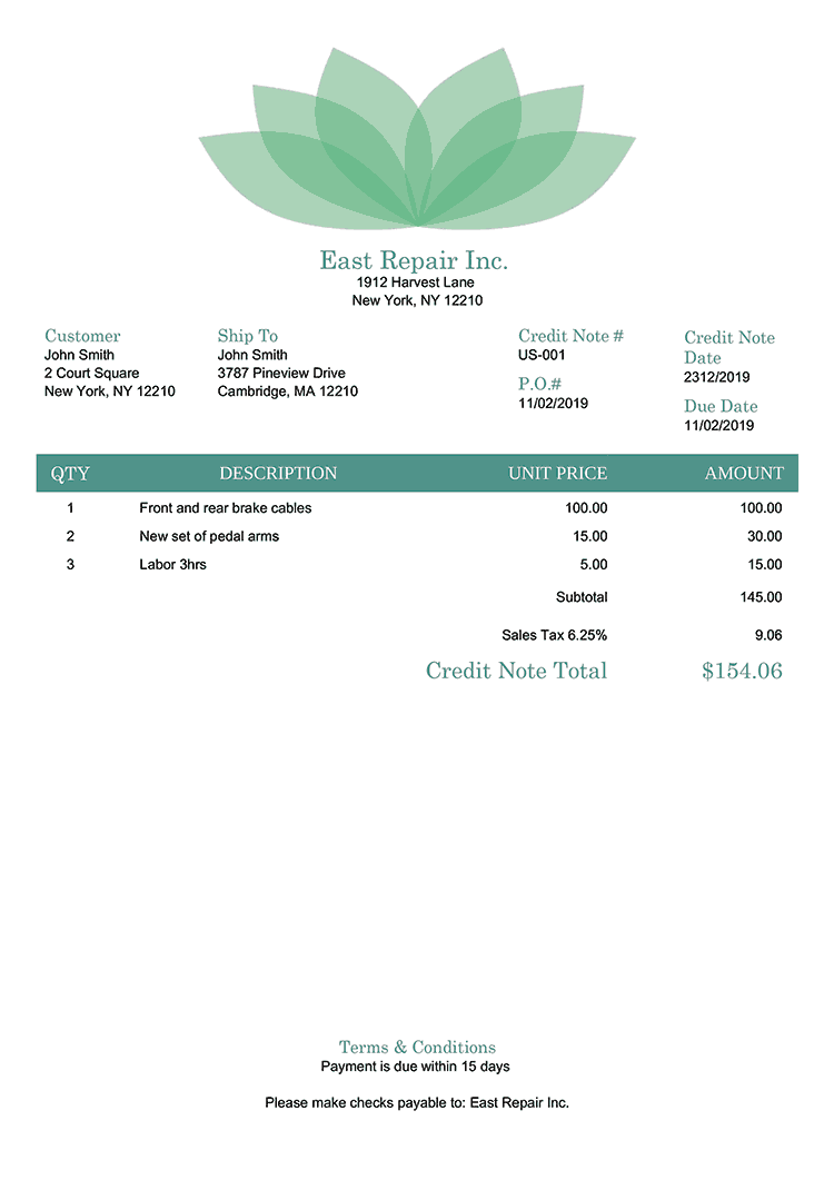 Credit Note Template Us Lotus Green No Logo