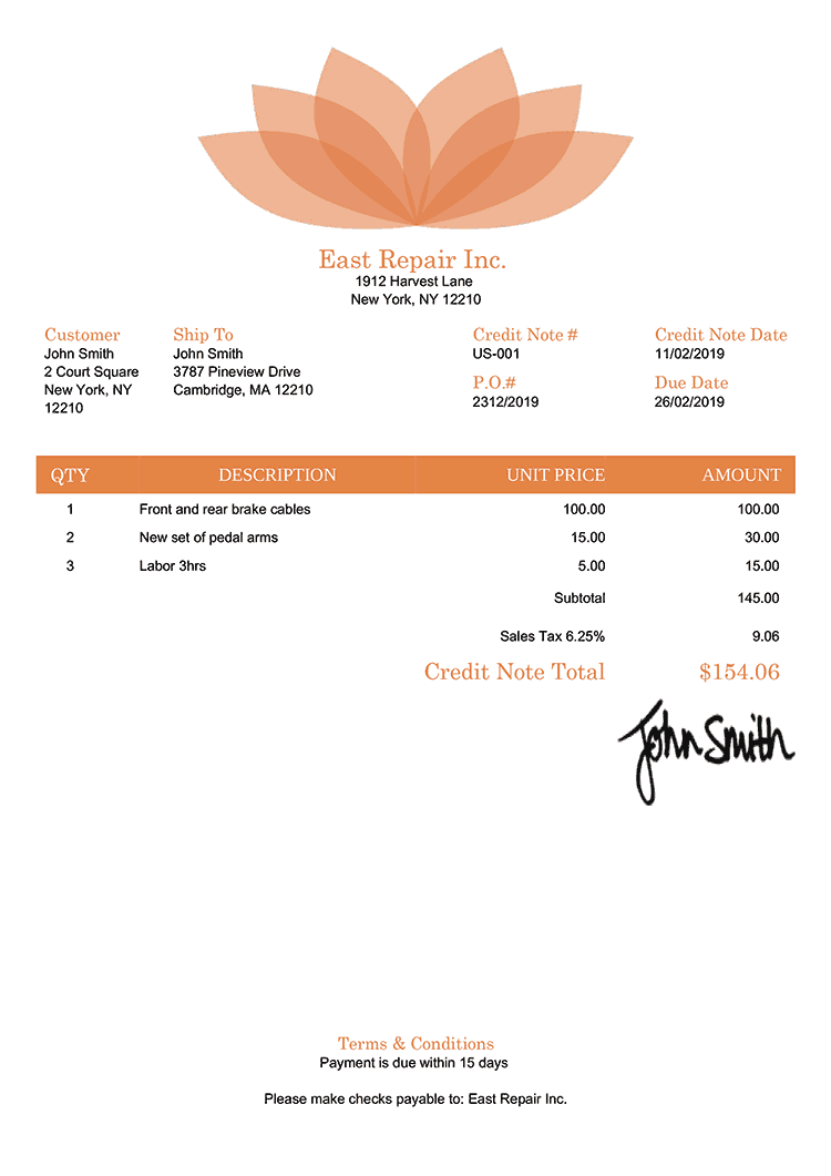 Credit Note Template Us Lotus Orange