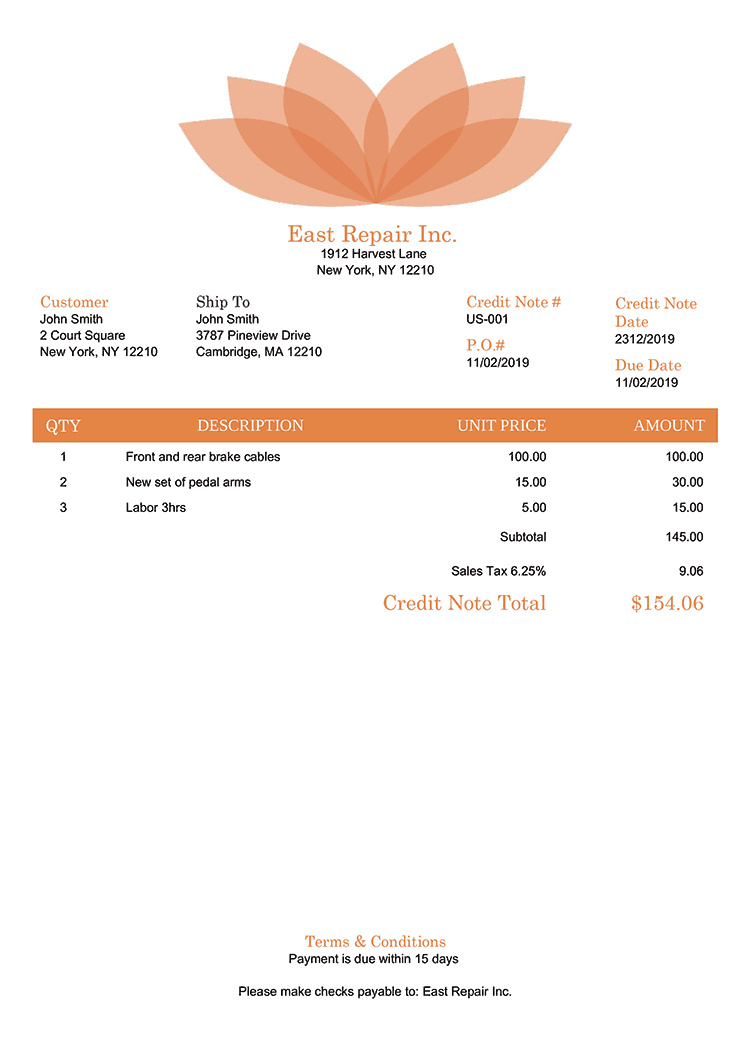 Credit Note Template Us Lotus Orange No Logo