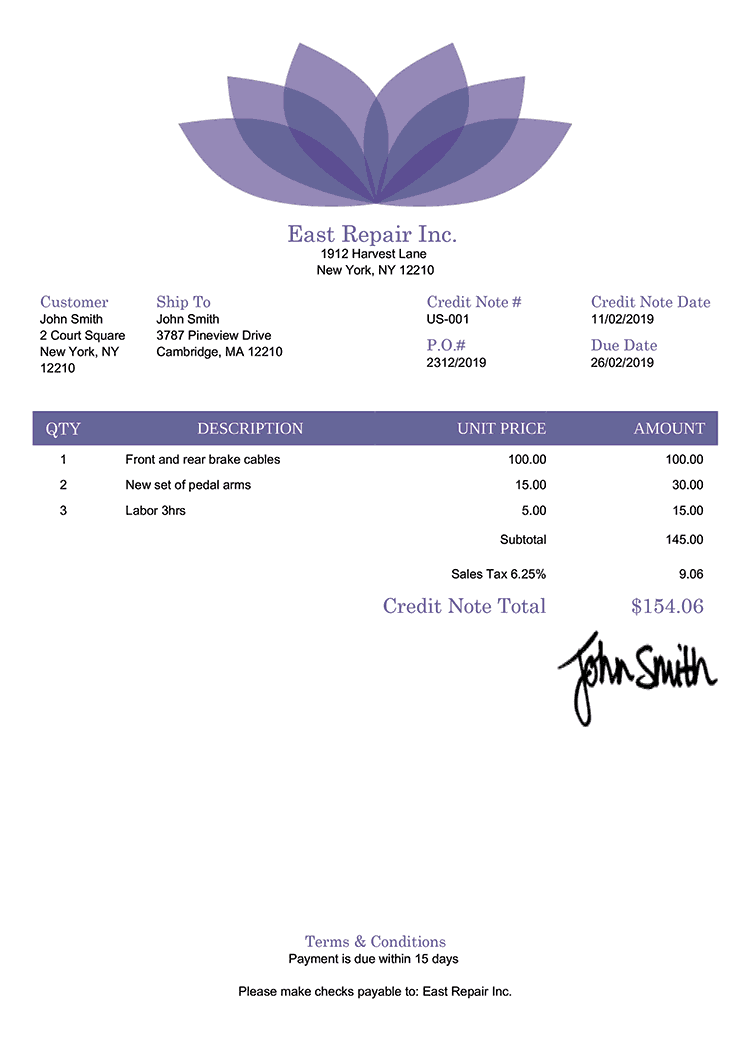 Credit Note Template Us Lotus Purple