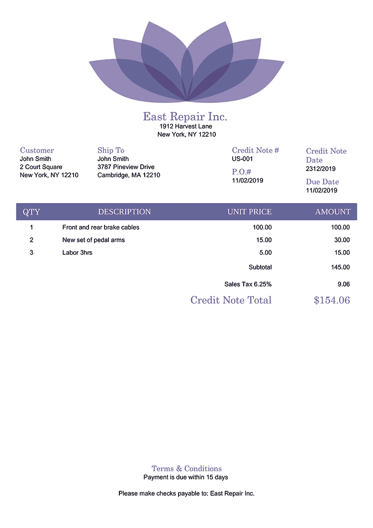 Credit Note Template Us Lotus Purple No Logo