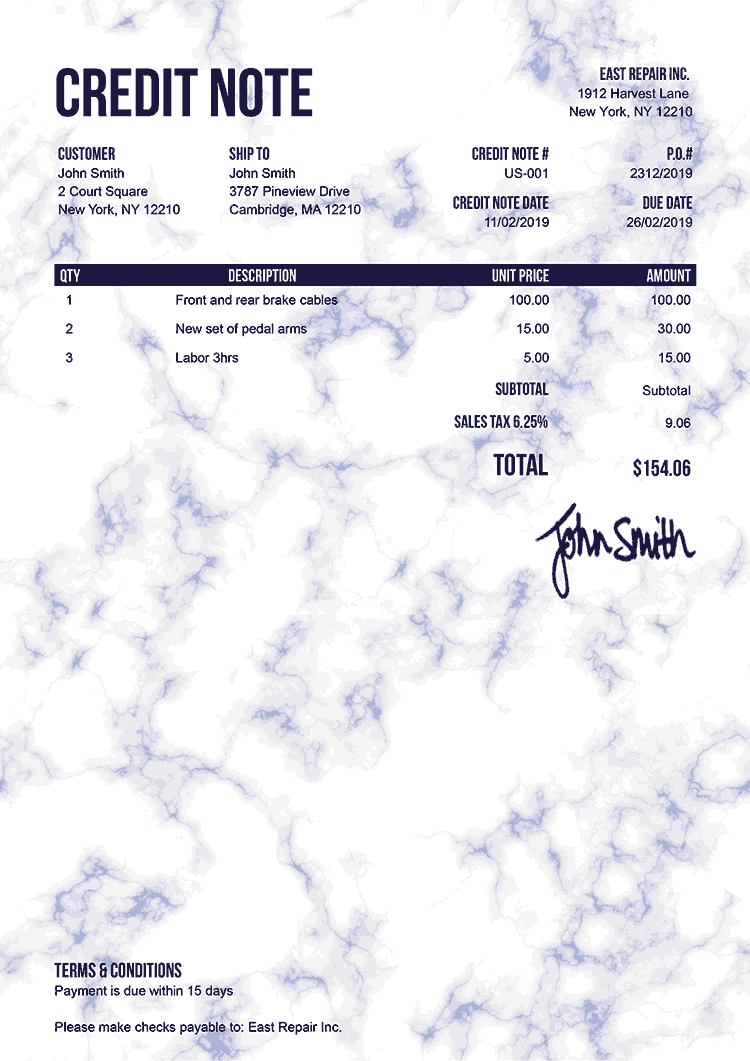 Credit Note Template Us Marble Blue