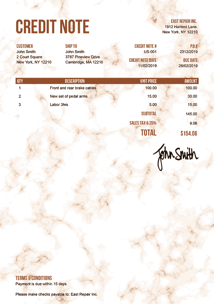 Credit Note Template Us Marble Orange