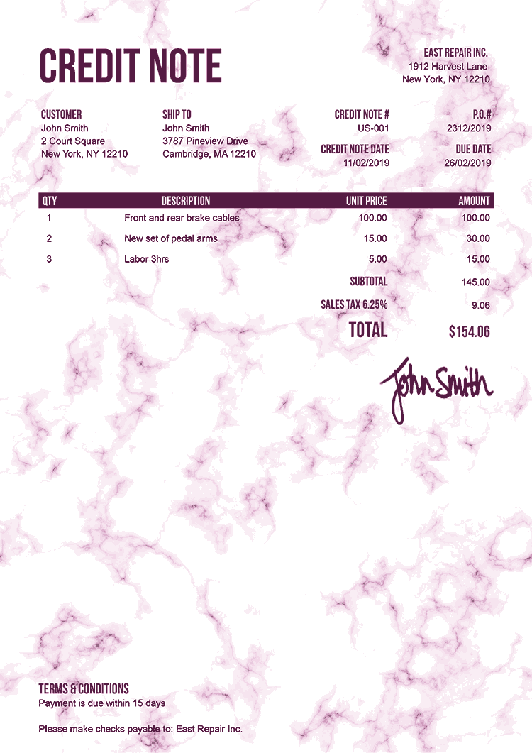 Credit Note Template Us Marble Pink