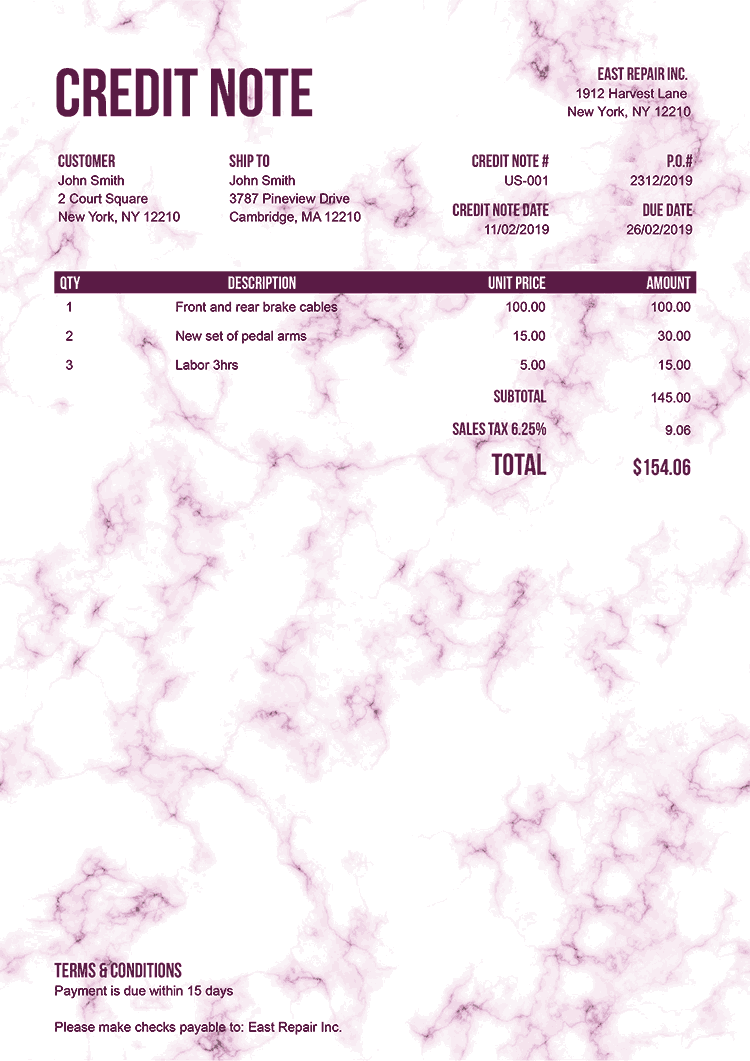 Credit Note Template Us Marble Pink No Logo