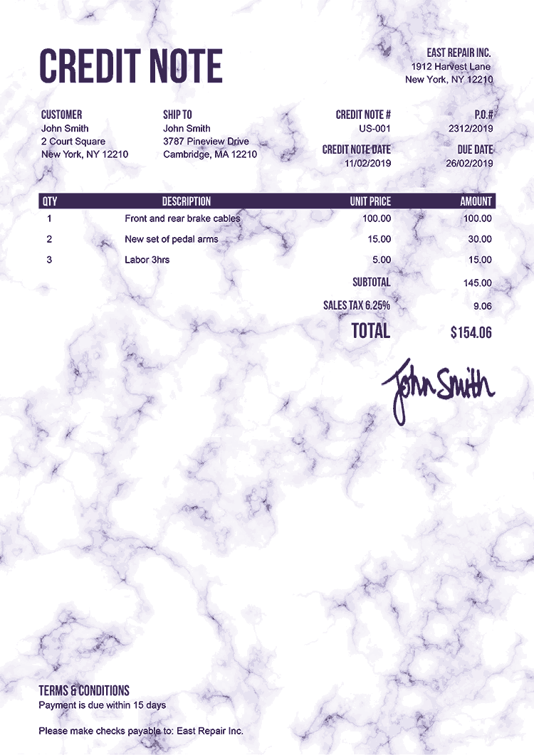 Credit Note Template Us Marble Purple