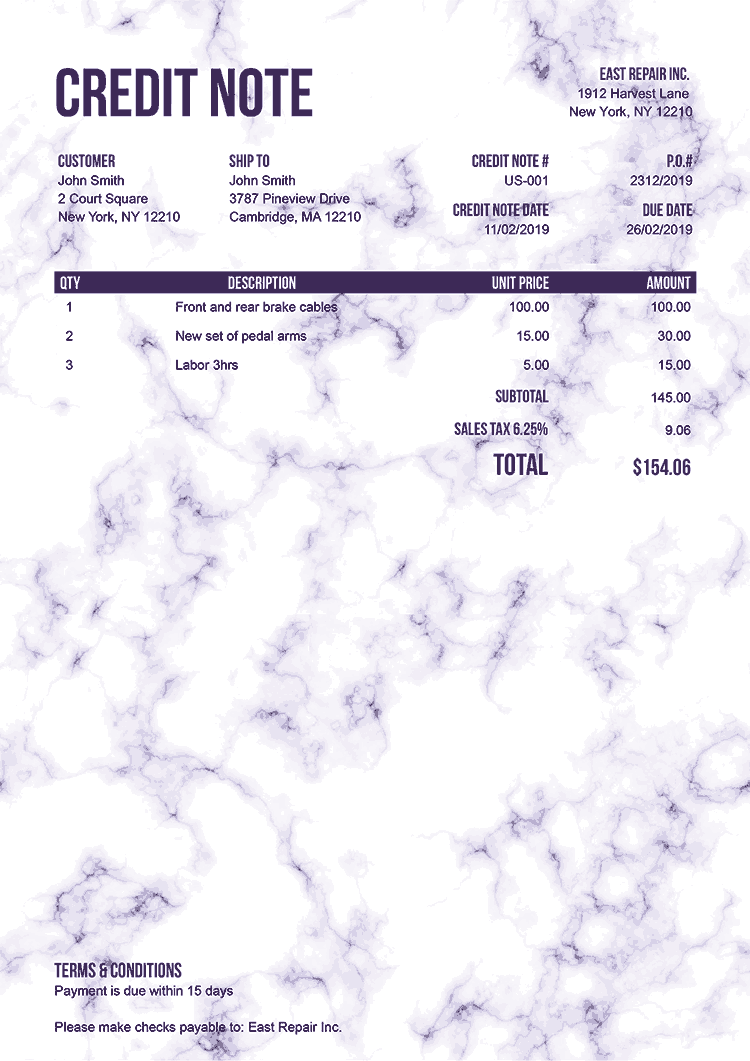 Credit Note Template Us Marble Purple No Logo