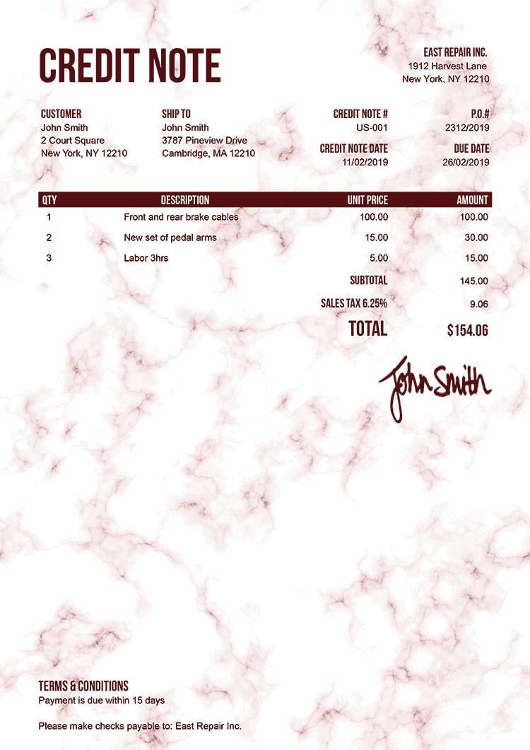 Credit Note Template Us Marble Red
