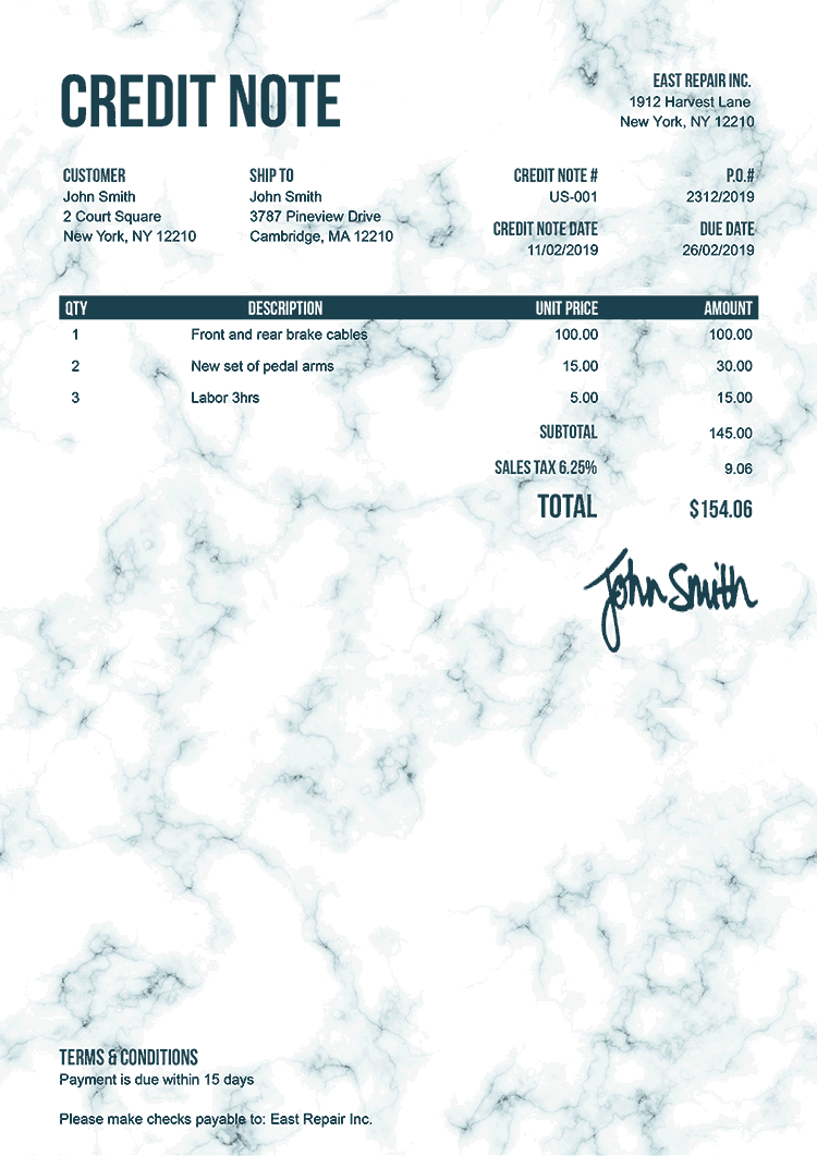 Credit Note Template Us Marble Teal