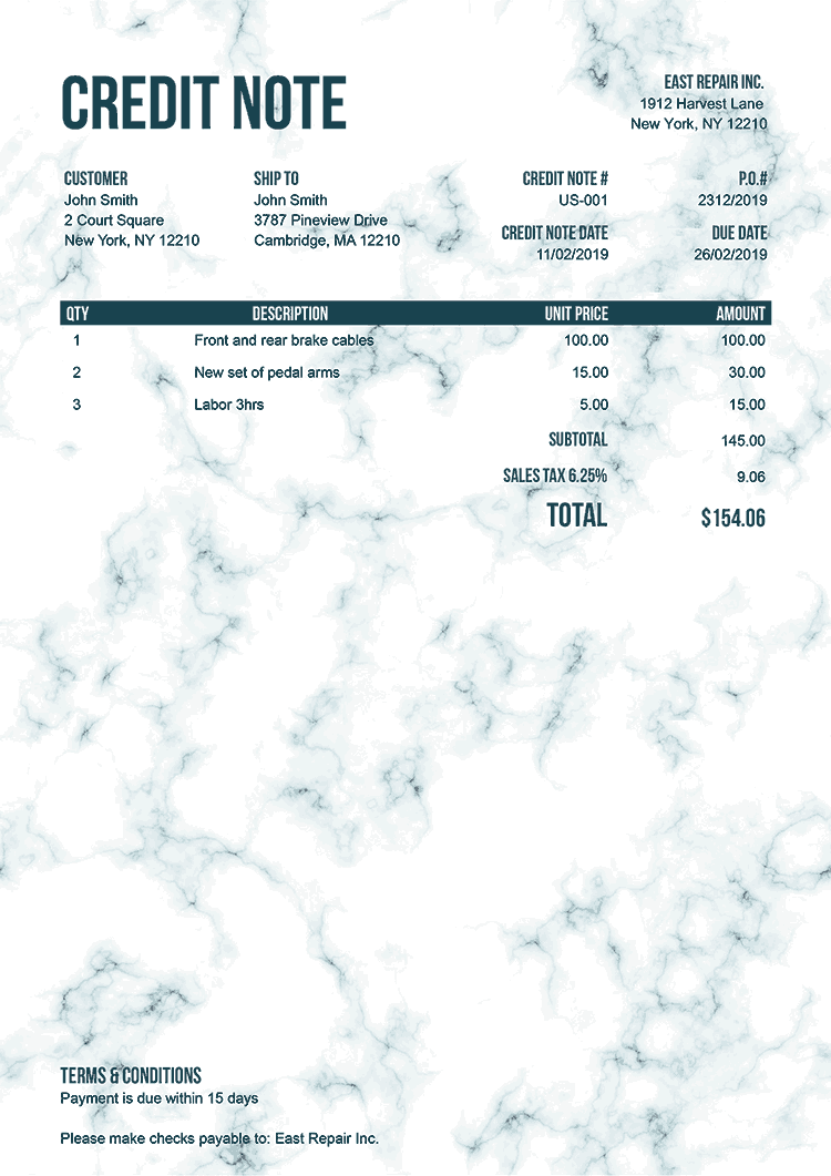 Credit Note Template Us Marble Teal No Logo
