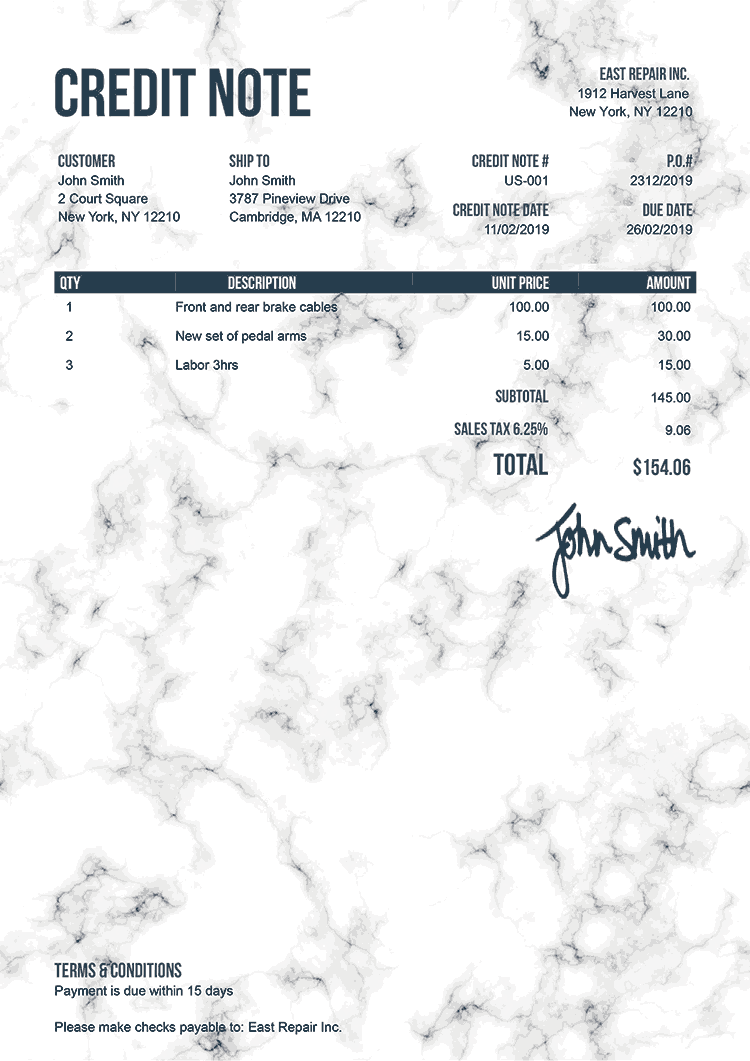 Credit Note Template Us Marble White