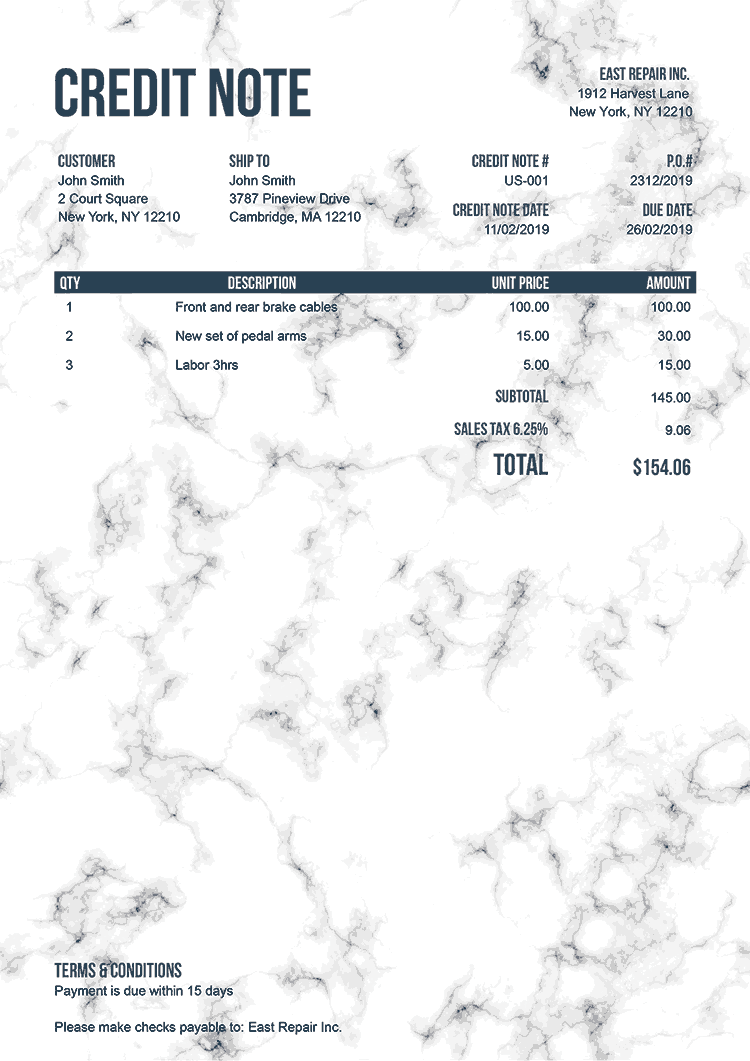 Credit Note Template Us Marble White No Logo