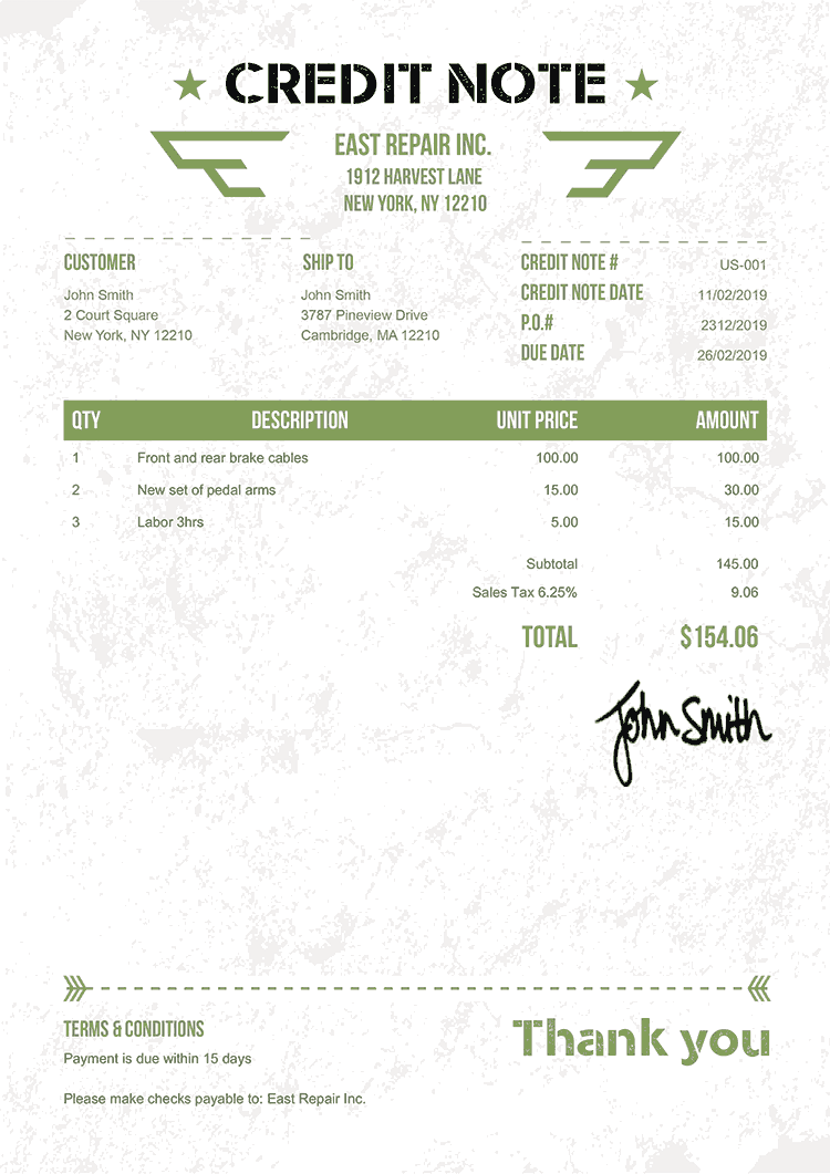 Credit Note Template Us Military Green