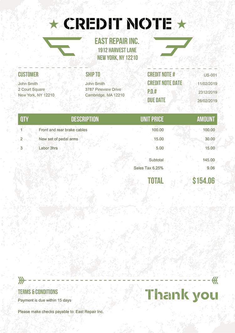 Credit Note Template Us Military Green No Logo