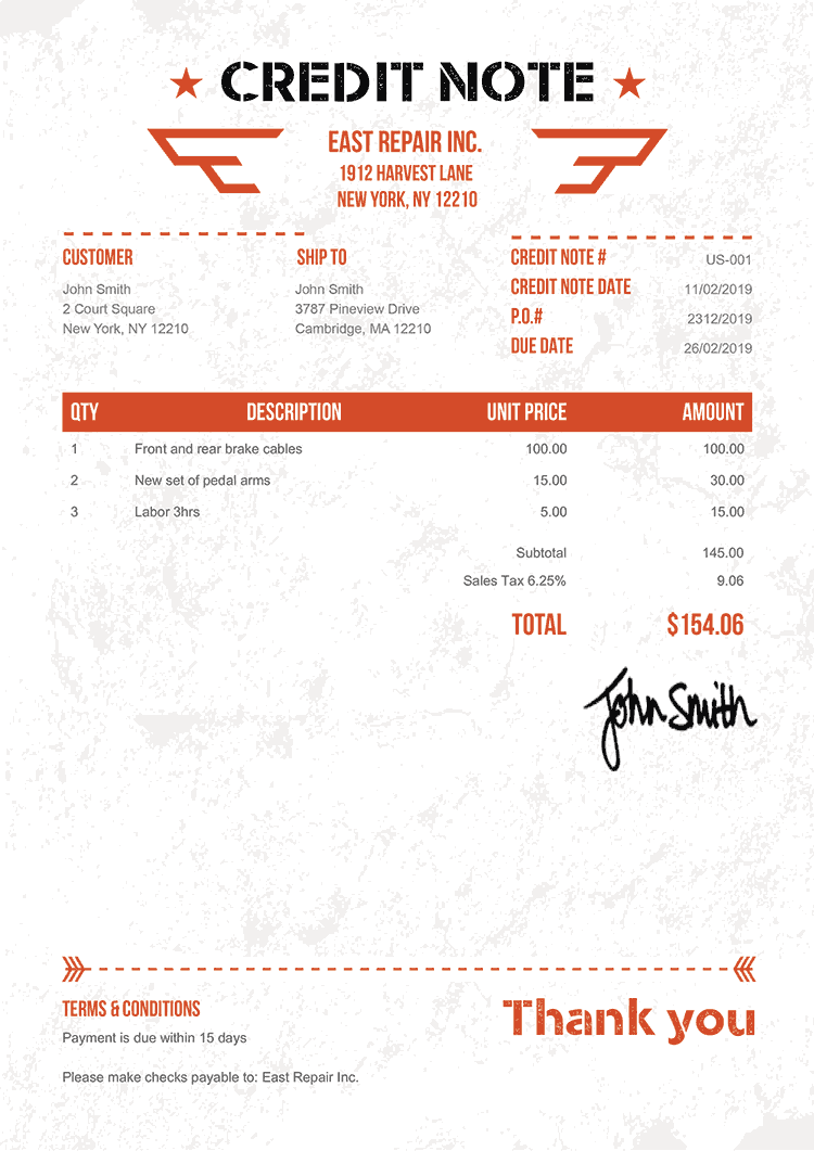 Credit Note Template Us Military Orange