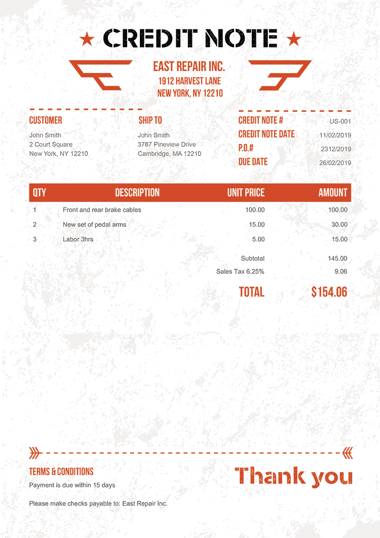 Credit Note Template Us Military Orange No Logo