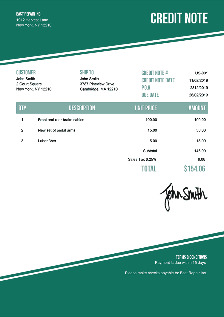 Credit Note Template Us Modest Green