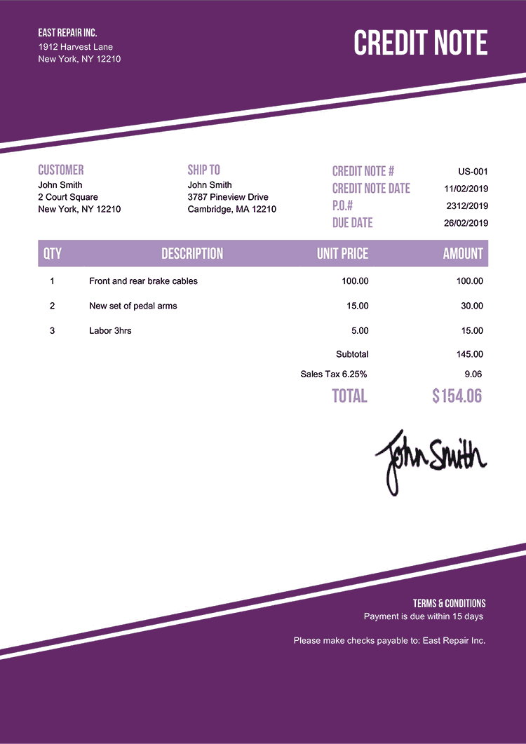 Credit Note Template Us Modest Purple