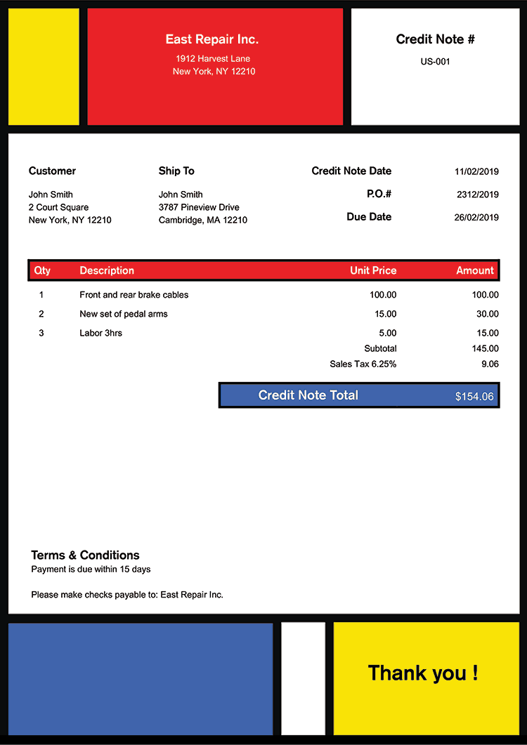 Credit Note Template Us Mondrian No Logo