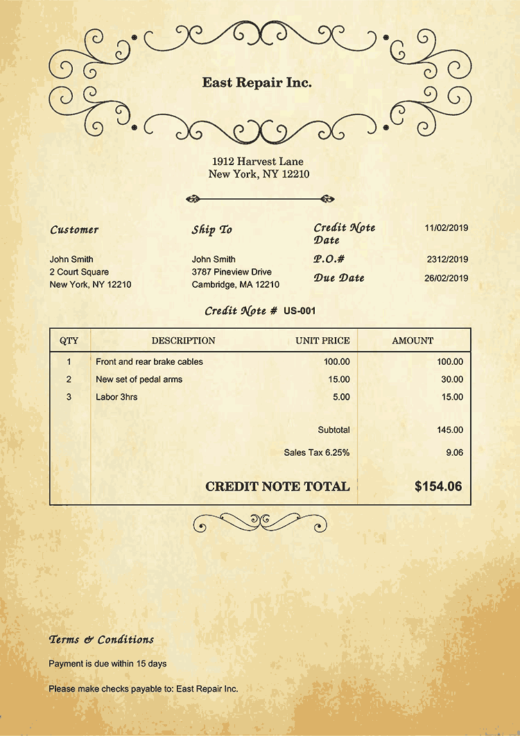 Credit Note Template Us Oldie No Logo